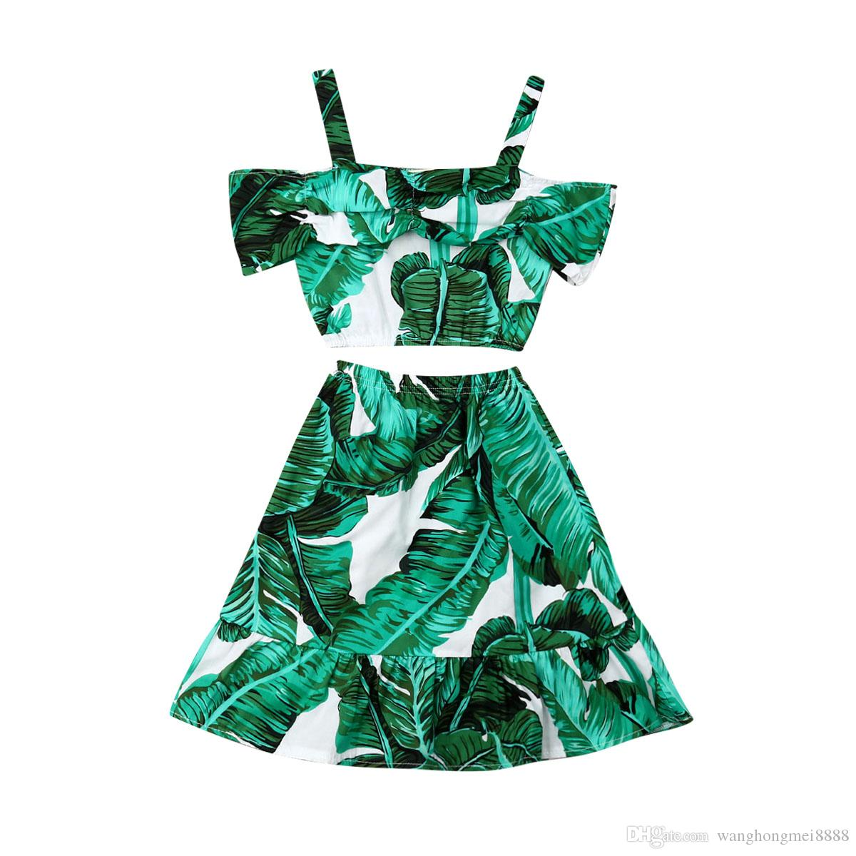 Focusnorm Fashion Toddler Kids Baby Girl Dress Set 1-5Y Camisetas de manga corta Tops + Vestido largo falda Ropa de verano Ropa