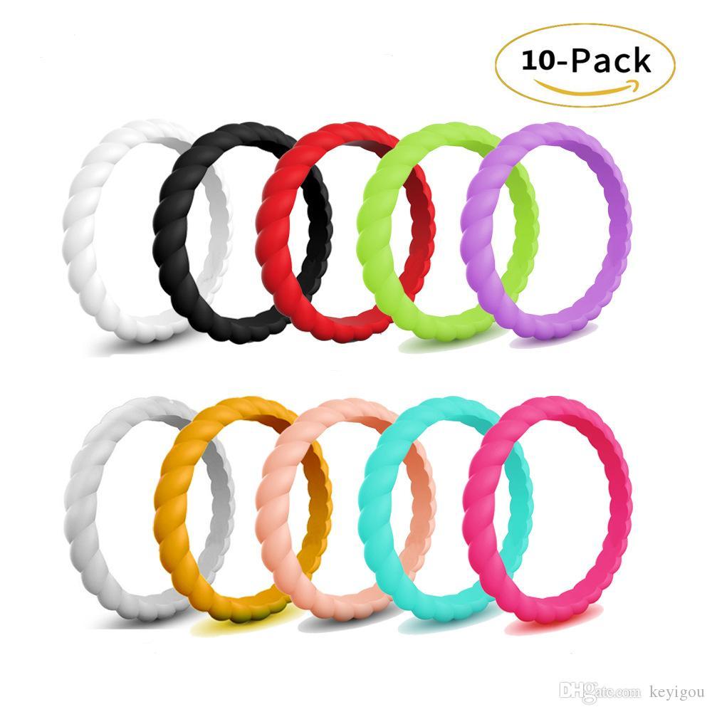 Moda 3 milímetros fino trançado Silicone Ring For Women Wedding Rings Sports Hipoalergênico Crossfit flexível Woven Rubber Ring Finger