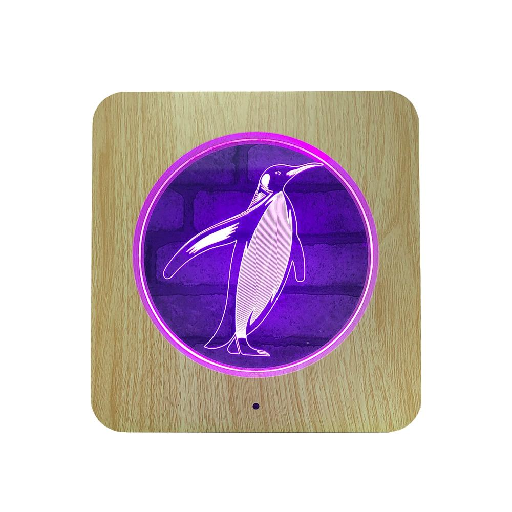 Wooden Carving Acrylic Lamp LED Penguin 3D Night Light 7 Colors Penguin for Home Decoration Lamps Best Gift for Child...