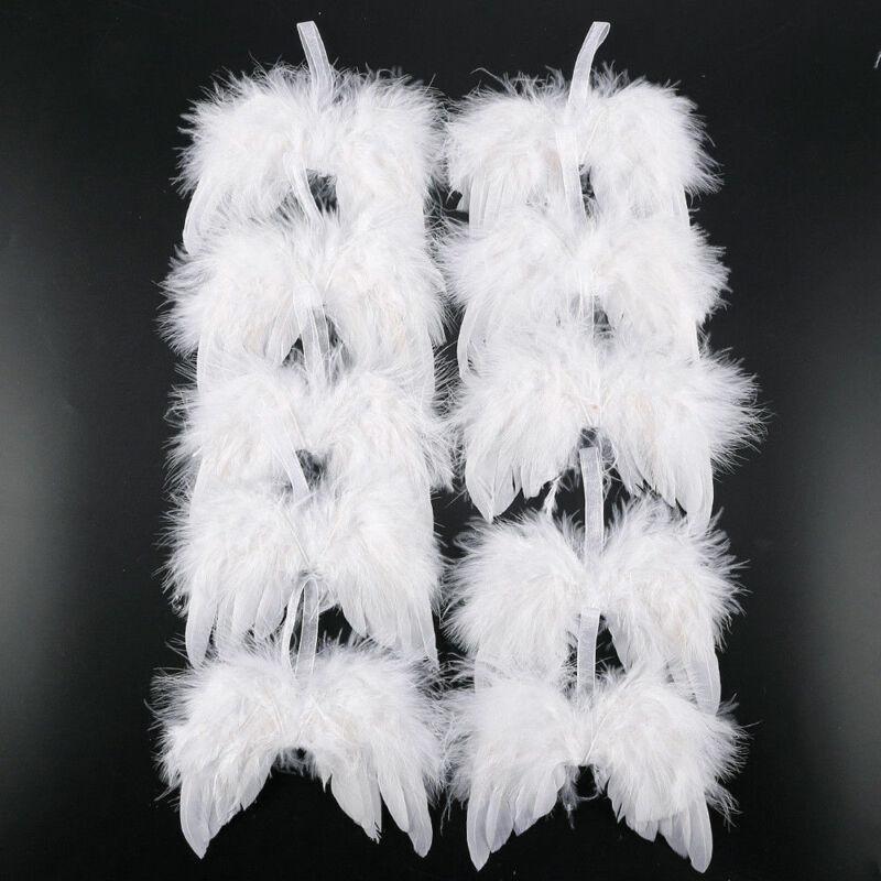 White Feather Wing Belle Ange Chic Angel Décoration d'arbre de Noël suspendu Ornement Home Party Ornements de mariage Noël