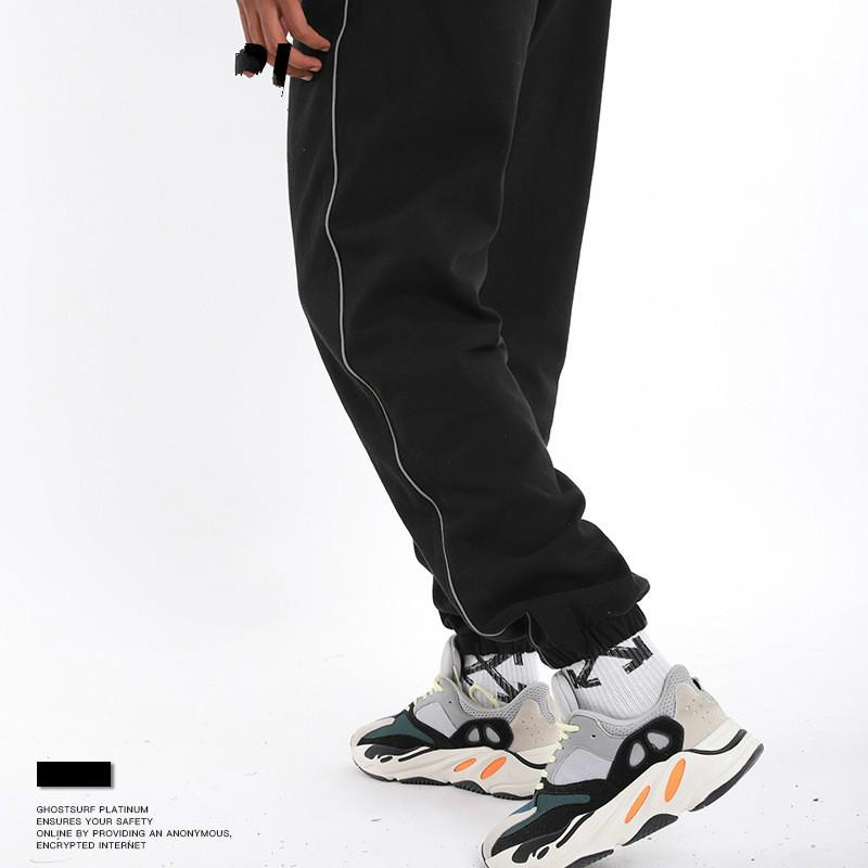 Autumn and Winter New American Street Fashion Men's 3M Reflective Suit Casual School Uniform Pants Men's Casual Pants