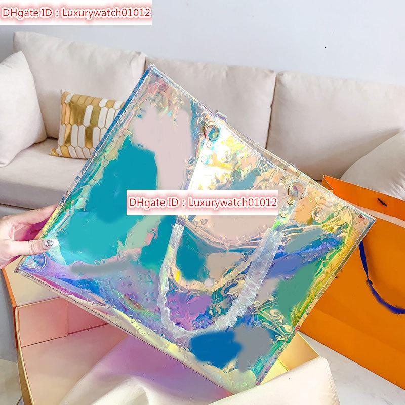 Tote Bag Shopping Bag Handbags Purses Fashion Clear Dazzle Iridescent Color High-Capacity PVC Artwork Lady Handbag High Quality Hot Sale