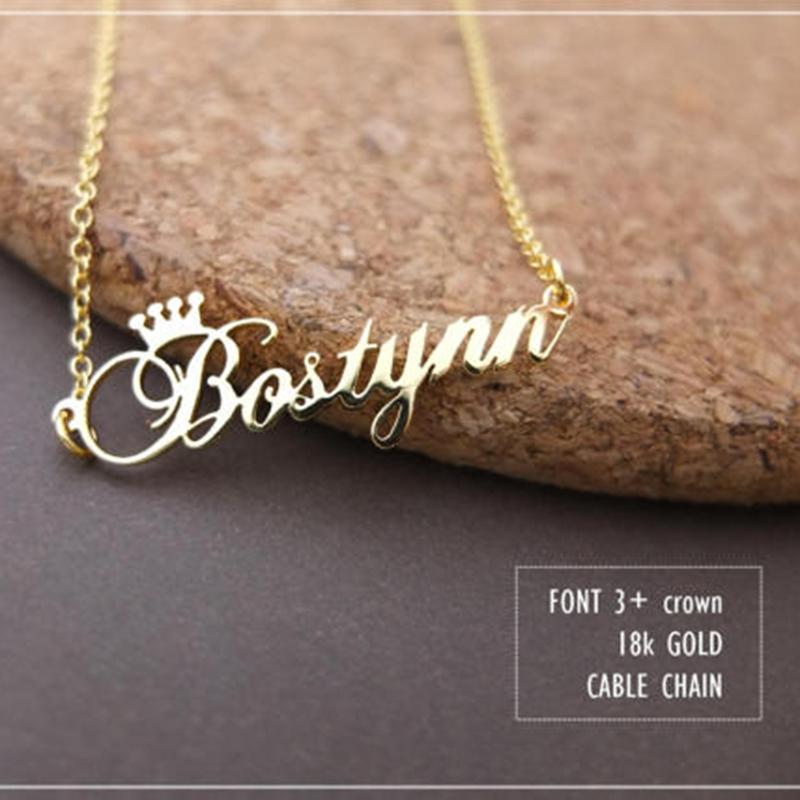Colore oro rosa in acciaio inox Qualsiasi corona cabina cabina fatta a mano collane collana personalizzata regalo di compleanno