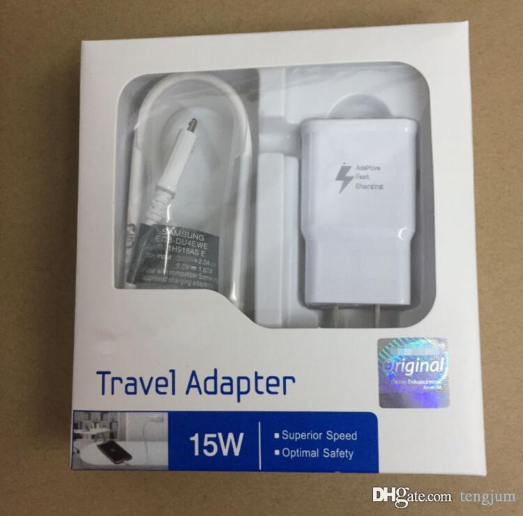جودة عالية 15W التكيف 100 ٪ شحن سريع الولايات المتحدة / الاتحاد الأوروبي السفر الجدار شاحن + 1.5M كابل USB الصغير لسامسونج S6 S7 حافة ملاحظة 4 5 مع مربع