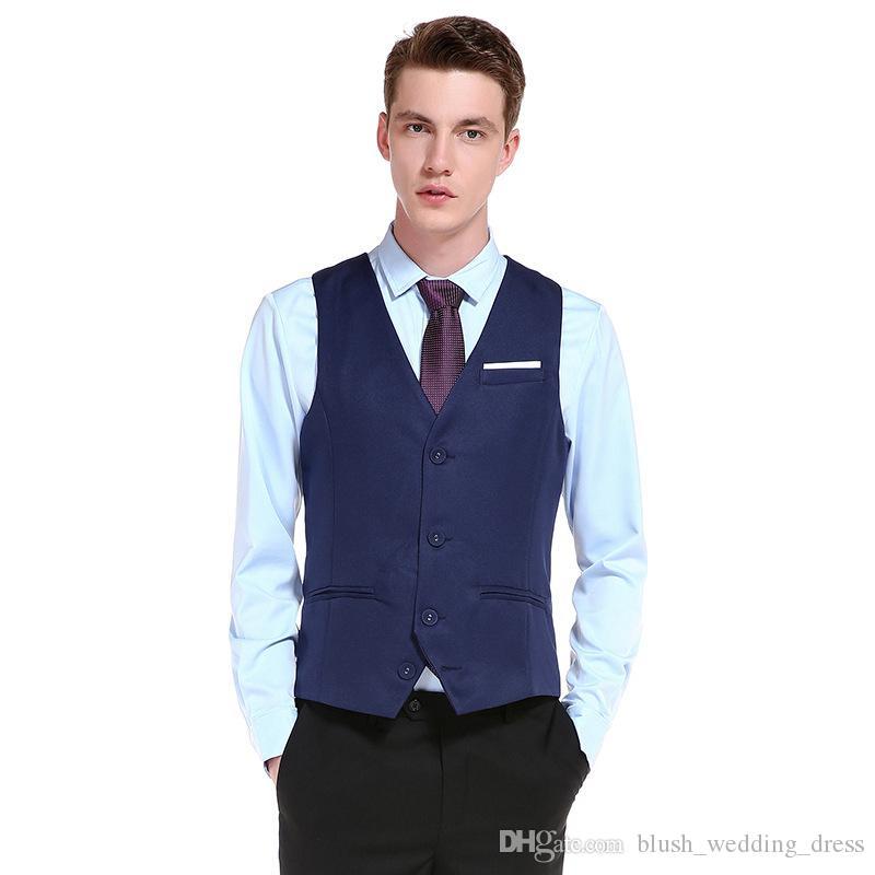 2020 Customize High-quality Goods Cotton Men Fashion Design Suit Vest / Grey Black High-end Men Business Casual Suit Vests For Groom