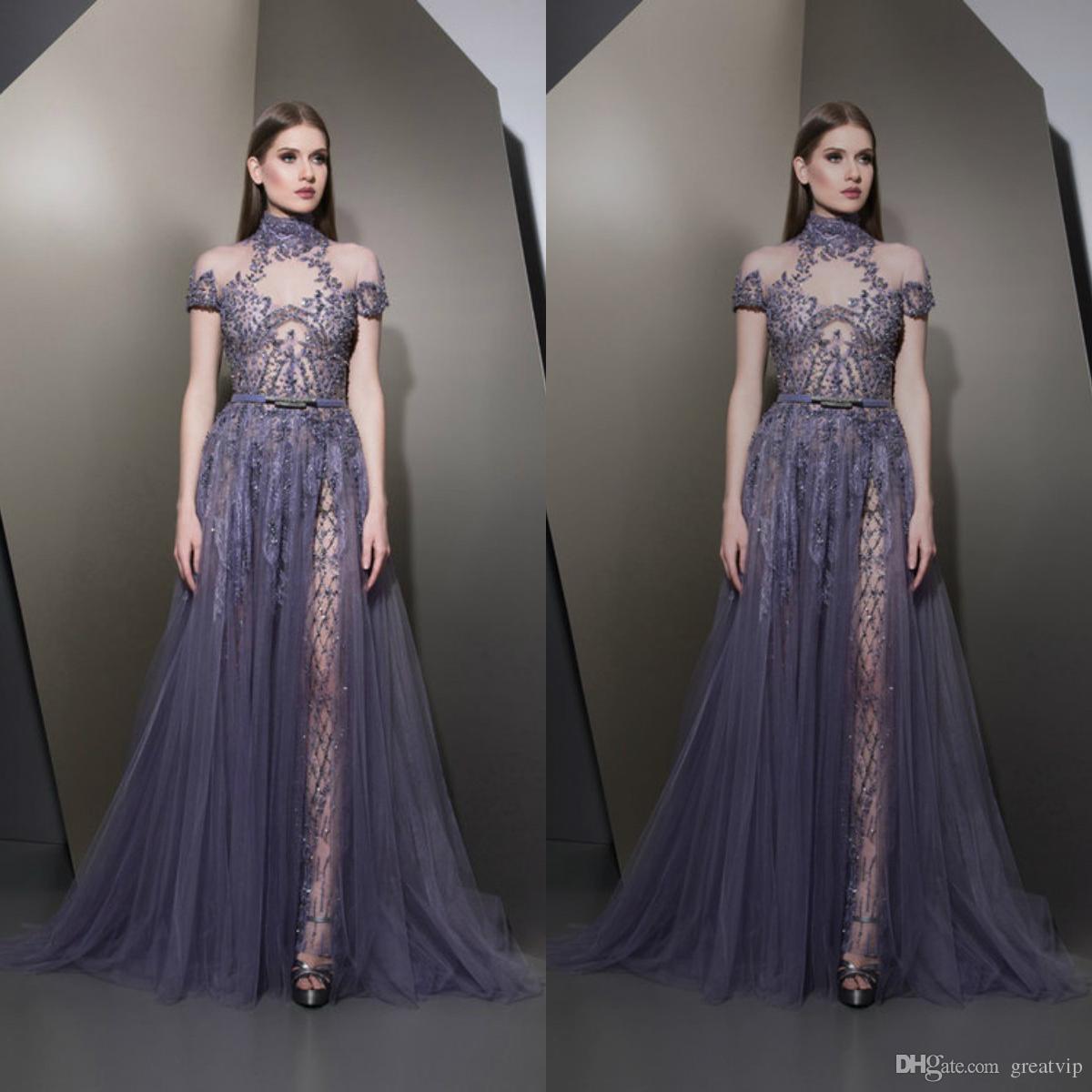 자파드 Nakad의 매력 보라색 이브닝 드레스 높은 목 구슬 쪼개지는 파티 드레스 플러스 크기 럭셔리 파티 드레스 맞춤형 가운 드 Soirée