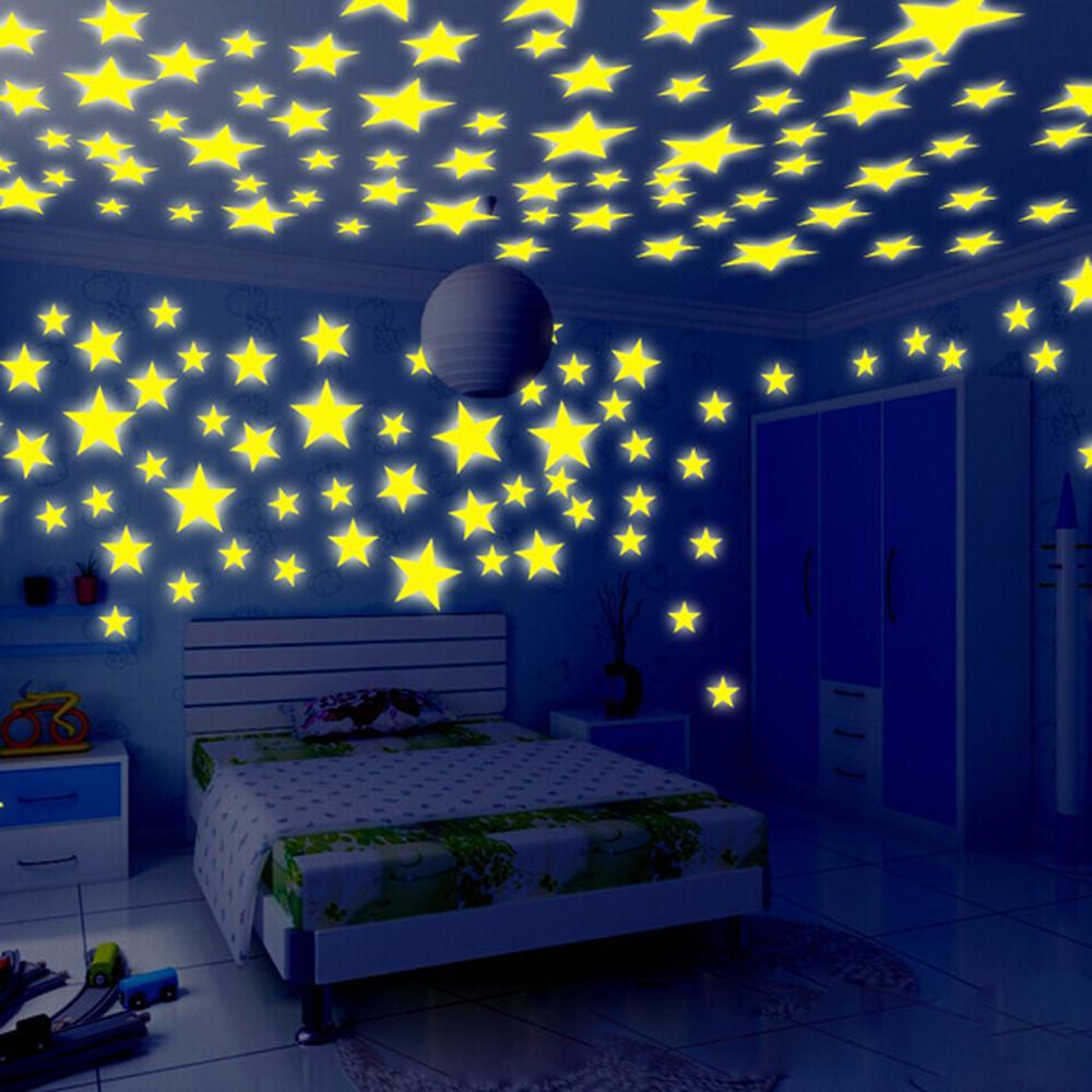 Kids Bedroom Stars Wall Stickers Beautiful Fluorescent Glow In The