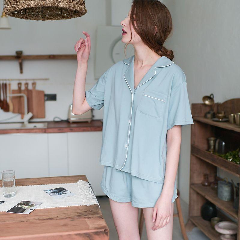 Classic Pajamas Women Shorts Sleepwear Suit Summer Ladies Homewear Pajamas Set Casual Outwear Fashion Female