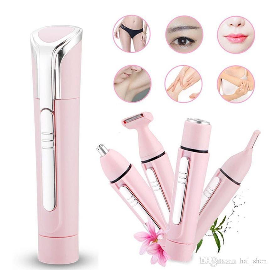 4 en 1 para mujer Mini depiladora facial eléctrica para afeitar Cuidado de la cara Depilación corporal Depiladoras portátiles sin dolor Recortadora Herramienta de belleza
