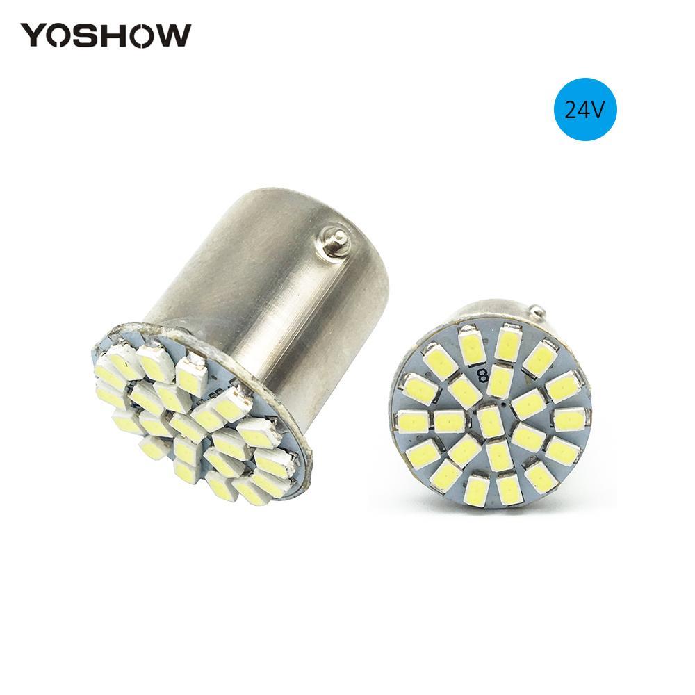 YOSHOW 10 pcs 24 V 1206 22 SMD 3020 22LED LED Ampoules P21W 1156 BA15S 1157 BAY15D S25 prise Auto Clignotants Feux de freinage Blanc