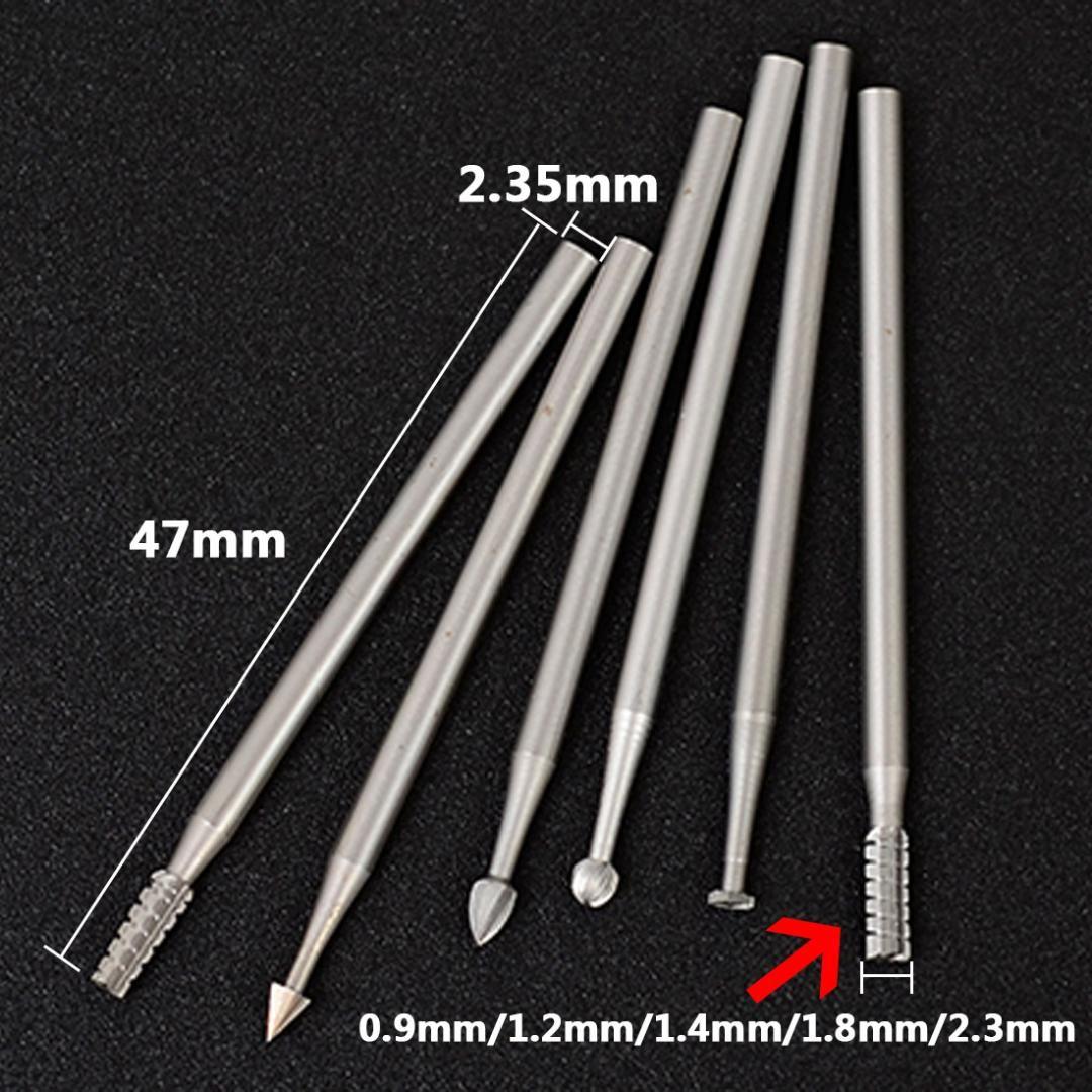 X6 2,35 mm Diamètre Burs pour couteau à découper Dremel Outil rotatif Microcarving Couteau Olive machine de gravure-couteau Micro set