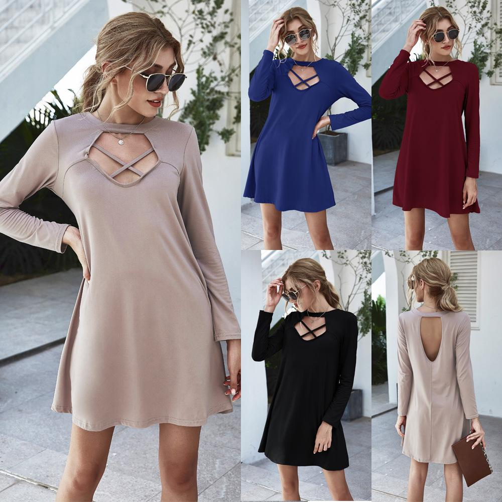 Womens Hollow Out Dress Long Sleeve Crew Neck Loose Casual Dresses Famale Backless Clothes