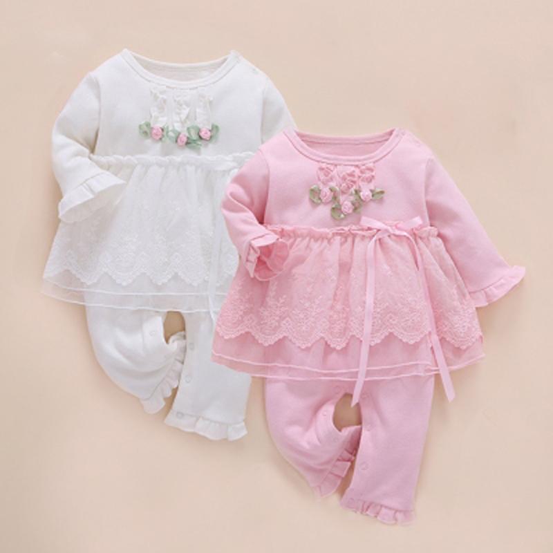 Bebê recém-nascido Menina Roupas Infantis Set Gêmeos Um Anos de Inverno Robe 2017 Macacão de Bebê de Manga Longa de Algodão Roupas Infantis Menina Y19061201