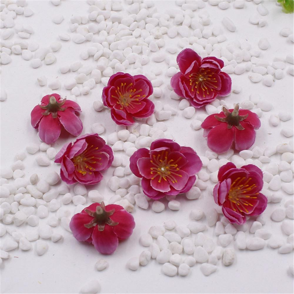 100PCS mini Tela Cherry Plum flor de la flor artificial de seda floral Arreglos Jefes tabla de la boda decoraciones caseras