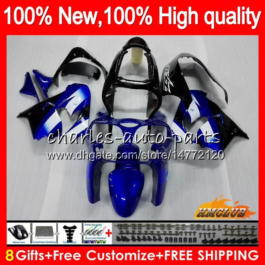 Pour le corps KAWASAKI ZX ZX900 ZX9 R 9R ZX9R 98 99 00 01 55HC.10 900cc 98-99 ZX 9 R 900 ZX9R 1998 1999 2000 2001 bleu ABS noir kit carénages