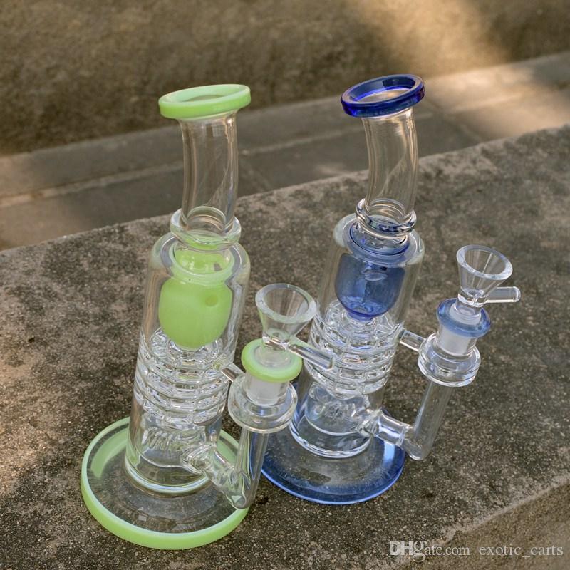 Épais verre Bong Inverted verre Dab Showerhead Rig Torus recycleur Bong Barrel Perc huile Rigs Ratchet percolateur en verre Tubes d'eau avec cuve