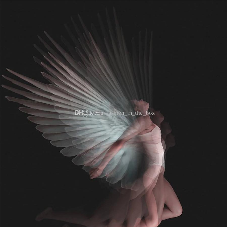 3d Angel Girl Wallpaper Black White Wall Mural Ballet Wings