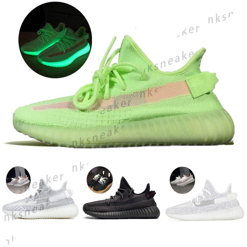 2020 Yeezy Boost 350 Kanye West Antlia Estate Rosa GID Glow In The Dark argilla nera Statico Argilla Scarpe Uomo Donne V2 Sneakers Designer Esecuzione