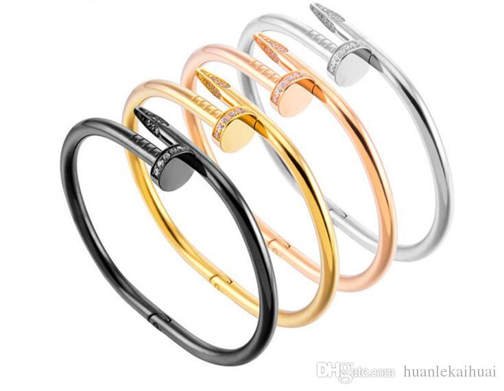 New 316L Titanium steel brand name nail punk lovers women and man bangle Luxury CZ Zirconia bangles free shipping