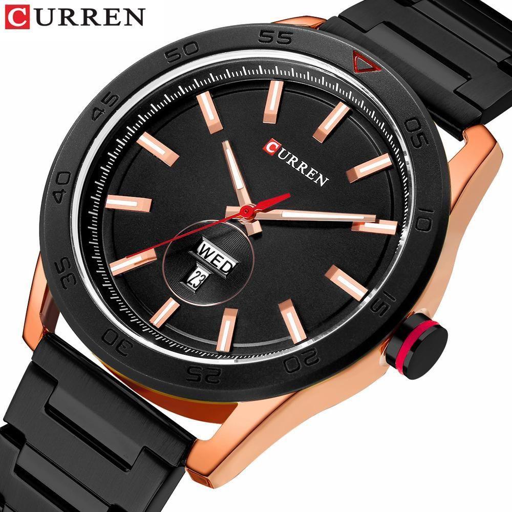 CURREN relógios para homens de luxo de aço inoxidável Watch Band Casual Estilo de pulso de quartzo com calendário Black Clock presente masculino