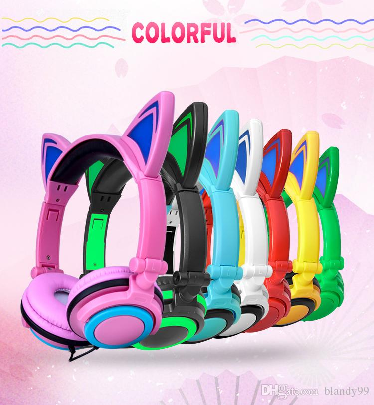 Wired Cat Ear headphones LED Ear headphone cat earphone Flashing Glowing Headset Gaming Earphones for Children For PC Laptop for phone