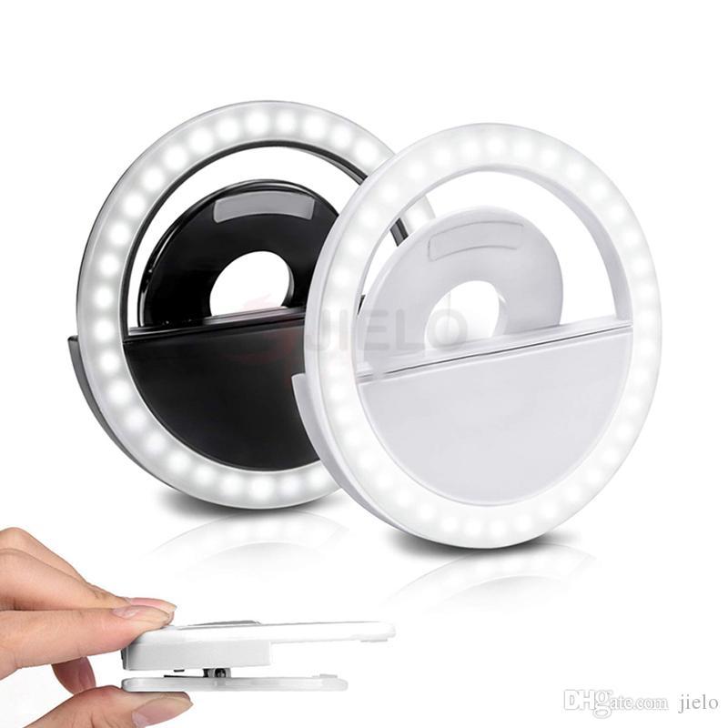autofotos luz LED del teléfono móvil selfie Flash anular la belleza de la lente de relleno Rayo lámpara de clip portátil para la cámara de fotos del teléfono celular Smartphone