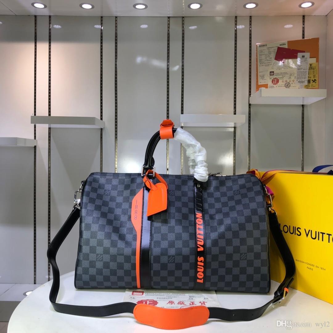 Diseñador M44642 M44643 KEEPALL 45 Hombres Bolsos Bolsos de marca Shows de moda Bolsos de viaje de cuero real negro Equipaje Tamaño 45 * 27 * 20 cm