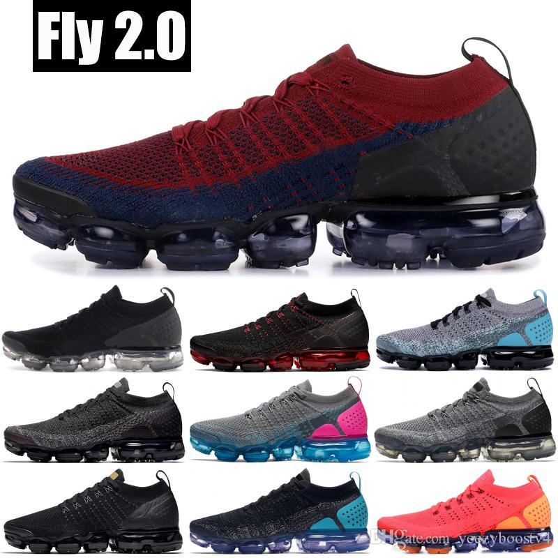 Nike vapormax flyknit 2.0 Mejor calidad Knit 2.0 Designer Sneakers Team Red CNY Tiger Dark Grey Red Orbit Hombres Mujeres Zapatos para correr Tamaño 36-45