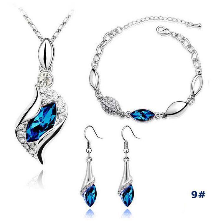 Plata Sistemas de la joyería caliente de la venta Pendientes de cristal collares pendientes pulseras Conjunto de la joyería del partido de las mujeres de moda de regalos