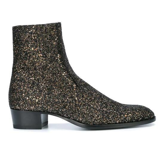 Man Black Sequin Wyatt 40 Glitter Stiefel Glitter Side Zip Pull Tab Slp Paris Fashion Kanye West Western Boots Schuhe