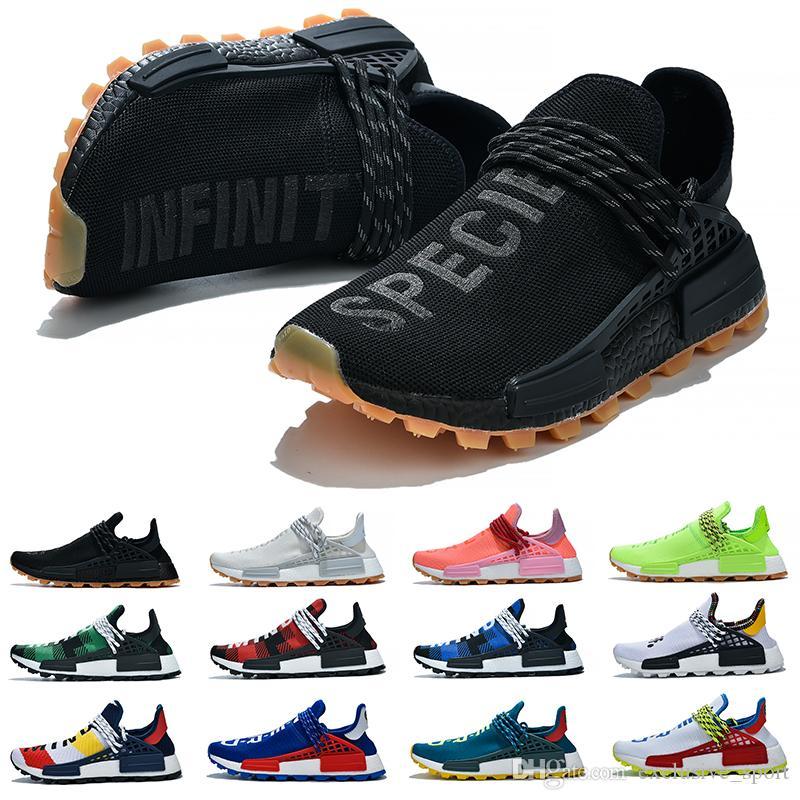 NMD Human Race Boost humaine Hommes Femmes Chaussures de course Pharrell Williams HU Runner Blanc Noir Jaune Rouge Vert Gris Bleu Sport Sneaker