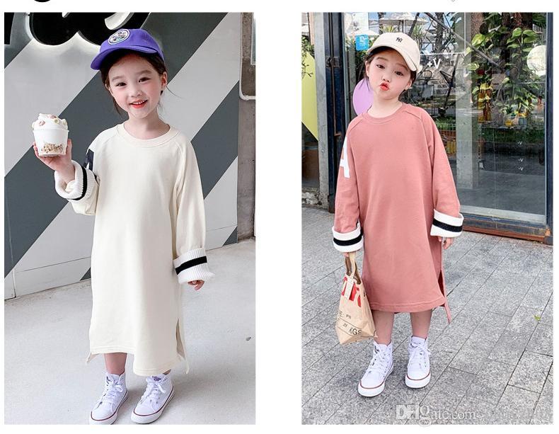 весна и осень горячие-продажа продуктов новая девушка вязать тенденции моды Детская одежда базовая рубашка чистый цвет дизайн с длинным рукавом 2colour