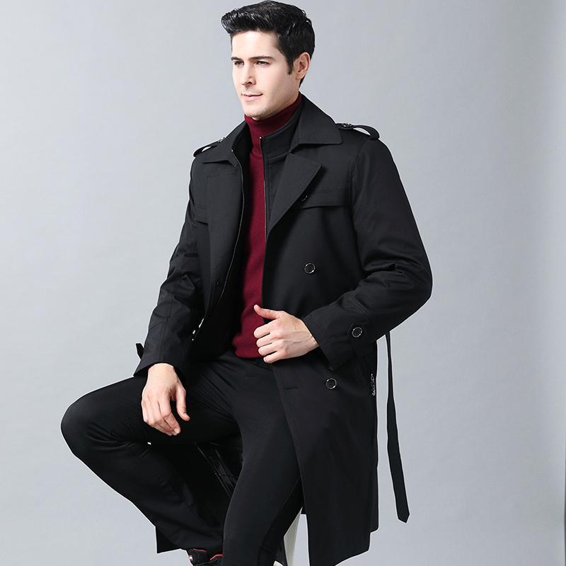 Осень Мужчина Trench Ветровка Длинного сплошной цвета куртка с двубортными кнопками отворот воротника пальто Одежды мужской 2020