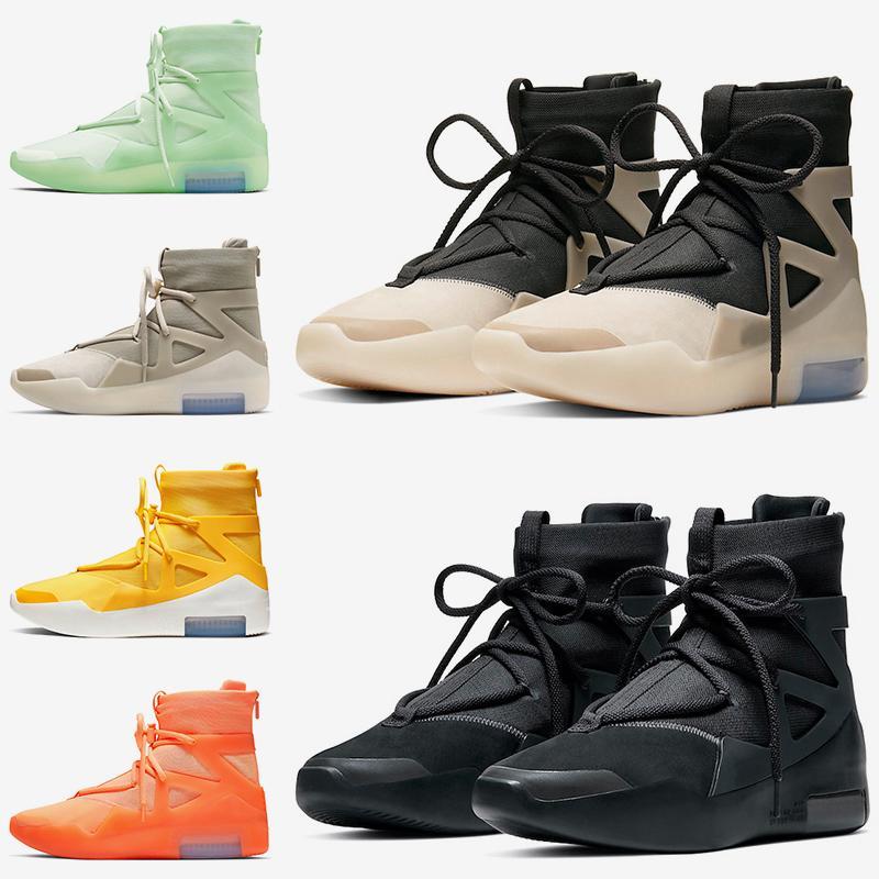Air Fear of God 1 fog سلسلة فاخرة السؤال الثلاثي الأسود النساء الرجال مصمم أحذية كرة السلة متجمد الراتينجية أحذية الشوفان المدربين أحذية رياضية