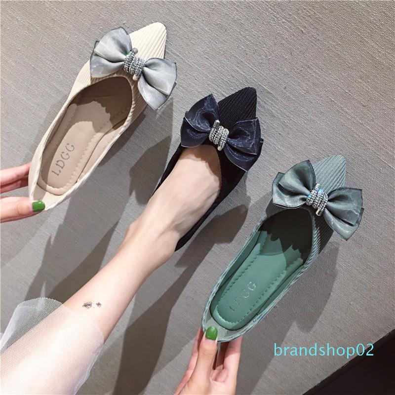 Donna che vende scarpe casual 2019 modo della signora tacco basso Bow scarpe Puntale punta Mesh traspirante disegno panno dimensioni asiatico 35-39