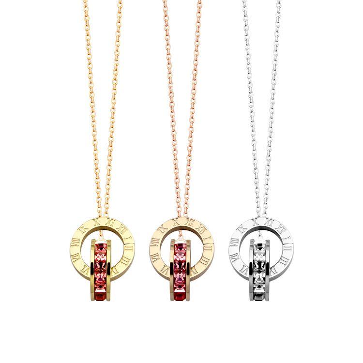 2019 Titane acier mode Rome nombre Double boucle foret colliers pour femmes charme amour collier rose Hip hop bijoux en gros