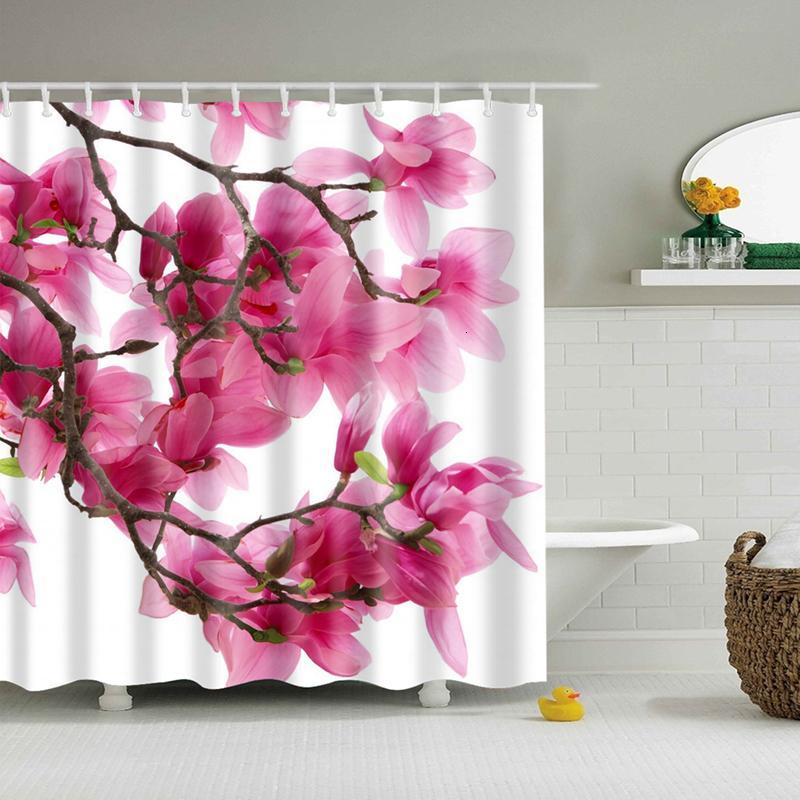 Flower cortina de chuveiro à prova d'água poliéster impermeável Tecido banhar-se banho cortinas de banheiro com 12 ganchos para Casa Decorações SH190919