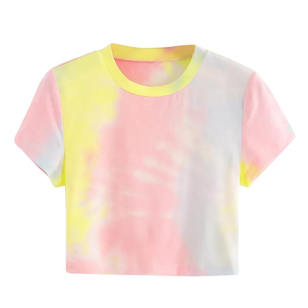 Tie Dye T shirt women summer top korea clothes casual loose Tee shirt femme ulzang Top print Short Tshirt