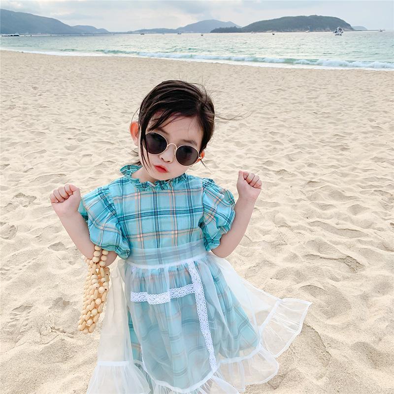 여자 거품 소매 캐주얼 드레스 여름 한국어 스타일의 달콤한 격자 무늬 드레스 2 개 세트와 T200417 앞치마 메쉬