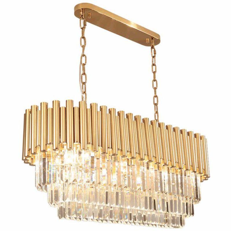 lampadario di cristallo di lusso moderno della lampada sala da pranzo soggiorno di cristallo rettangolare lampadario di illuminazione d'oro in acciaio inox a LED