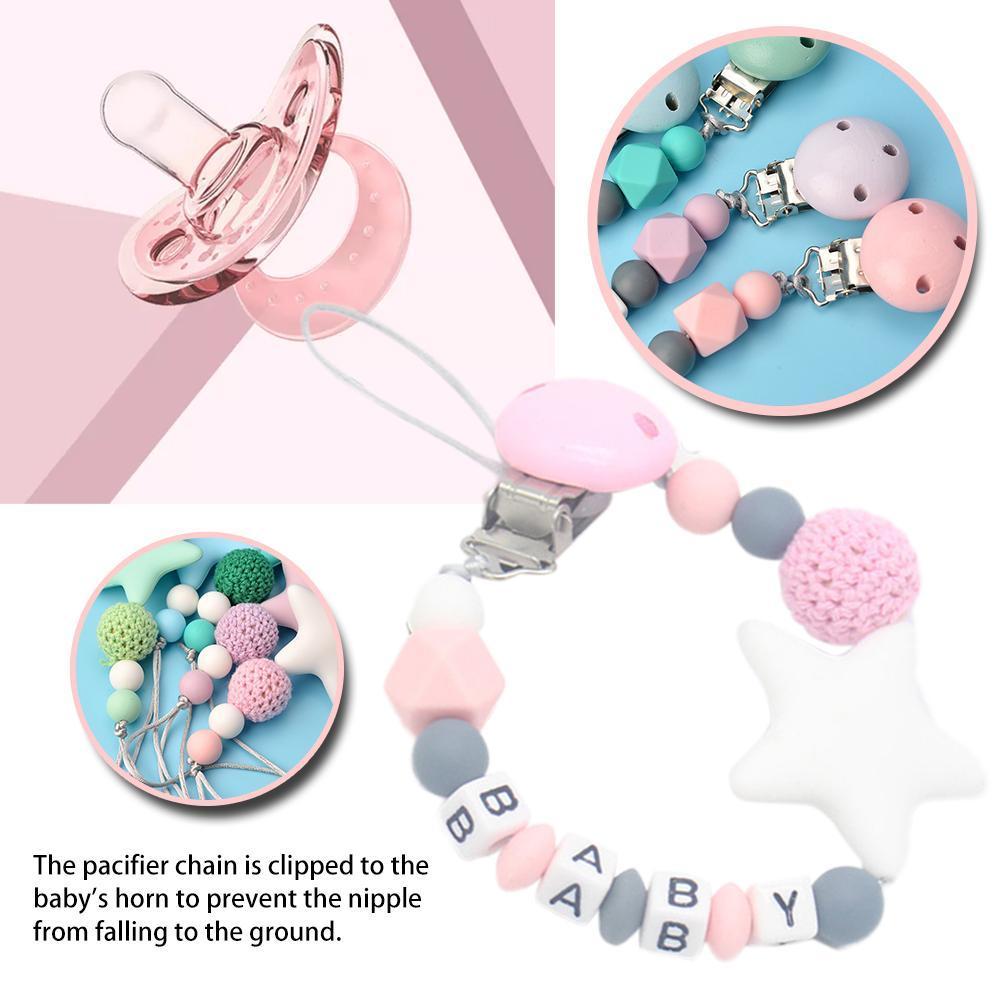 Clips colorés en silicone Tétine chaîne drôle pour l'alimentation du nourrisson Toddle Chew Clips jouets Pacifier Chain bébé Jouet non personnalisé