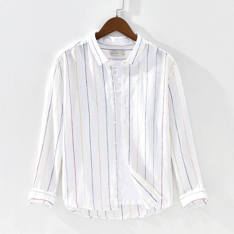 Top-Qualität Striped 100% Leinen Männer mit langen Ärmeln Freizeithemd Sommer-Breathable reines Leinen Kleid Shirts Männlich Camisas TS-587