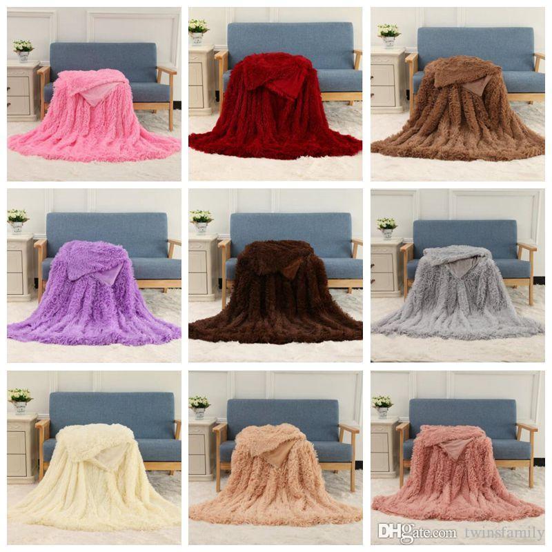 Shaggy Decken Fluffy Fleece Hintergrund Decke Feste Hochzeit Bedspreads Couch TV Sofa Snuggle Bettwäsche Heimtextilien Werfen Decken D6879