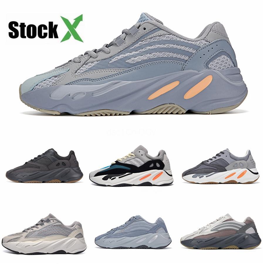 Los zapatos corrientes de calidad superior Kanye West 700 corredor de la onda inercia reflectante Tefra gris sólido Utilidad Negro Vanta Hombres Mujeres Sport zapatillas de deporte # QA391