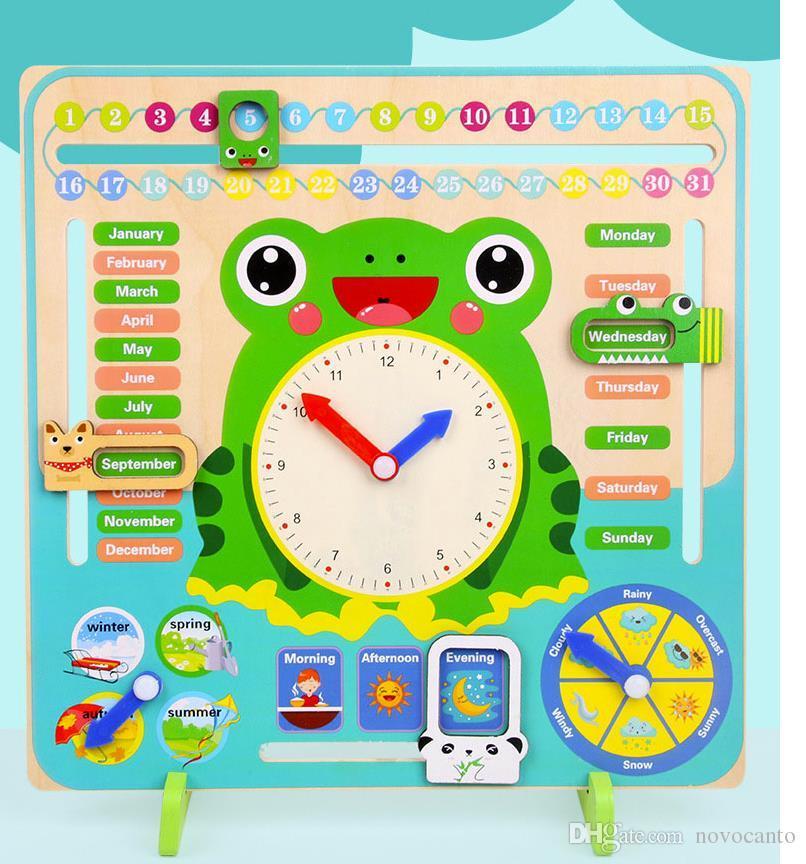 Calendario Montessori.Acquista Nuovi Giocattoli Montessori In Legno Bambino Meteo Stagione Calendario Orologio Tempo Cognizione Educazione Prescolare Sussidi Didattici