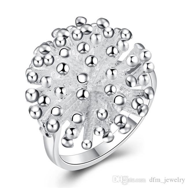 ¡Envío gratis! Chapado en plata de ley anillo de tamaño de fuegos artificiales DJSr01 de EE.UU. 6,7,8,9,10; estrenar 925 placa de plata anillo de racimo de joyería de las mujeres