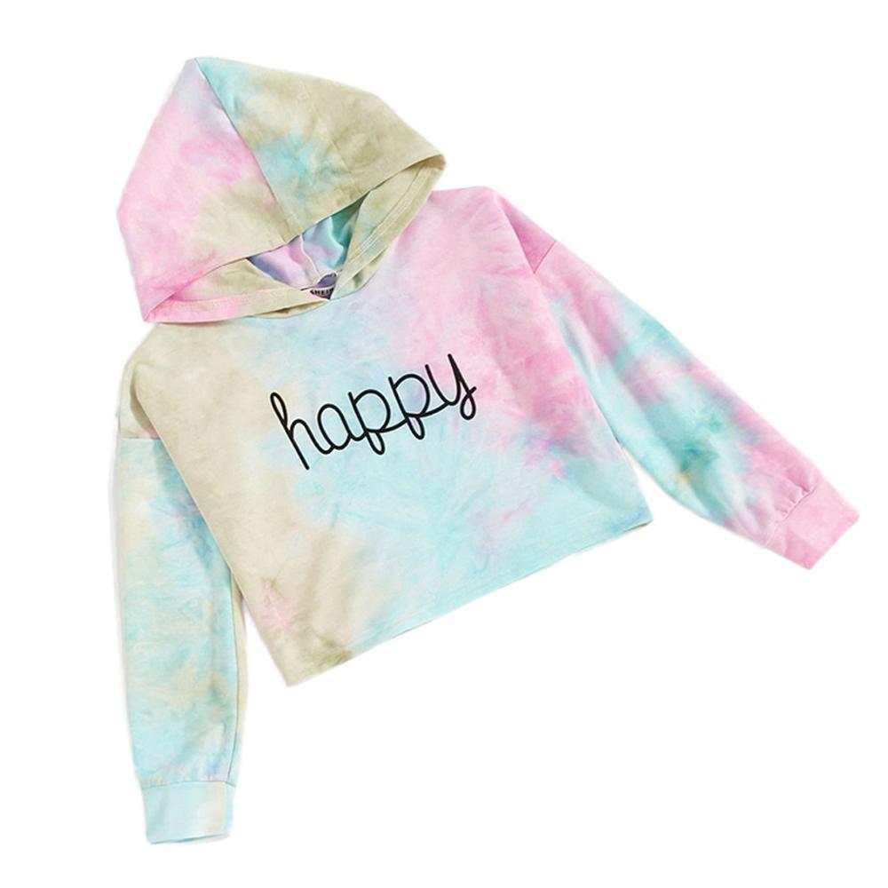 Lettre d'enfants adolescent filles Multicolor Sweat-shirts Pull Tops Vêtements Tie Die