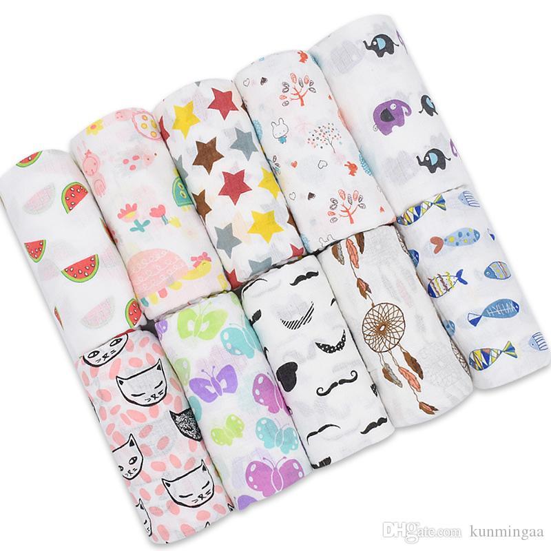 100% cotone coperte di mussola biancheria da letto neonato asciugamano fazzoletto buste multifunzionali per neonati coperte fasce avvolgere bambino