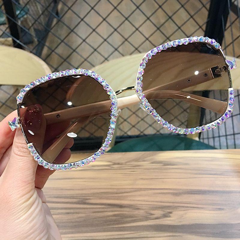 FShion Óculos de Sol Strass 2019 Homens Luxo Solar Sul Vidros Vintage Mulheres Somas Sunglasses para Mulheres APJCJ