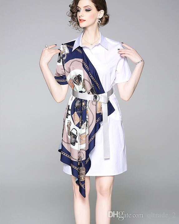 summer handbag chain scarf printed short sleeve women shirt dresses Contrast color street style dresses